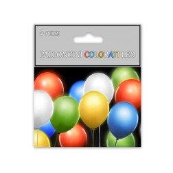 confezione 5 palloncini colorati illuminati con LED e batteria compresa