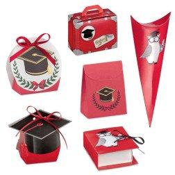 scatoline rosse portaconfetti per laurea tocco e gufo