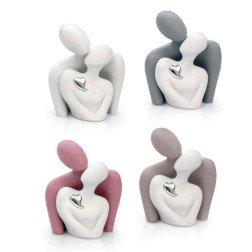 mezzo busto in ceramica con cuore argento h 21