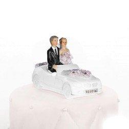 cake topper matrimonio sposi in auto cabrio