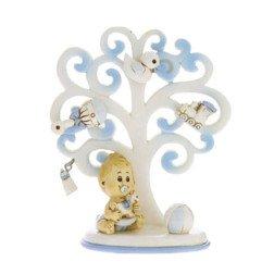 bomboniera albero della vita portafoto celeste grande 15 cm
