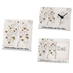 linea bomboniere con albero della vita icona, orologio, porta foto