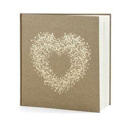 guest book 22 pagine avana con cuore oro colore rustico shabby chic