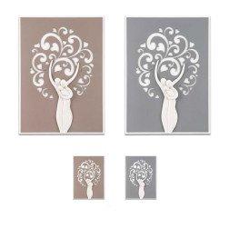 quadro moderno famiglia con albero della vita in marmo su base in legno tortora o grigio