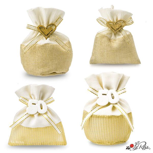Bomboniere 50 Matrimonio.Sacchettini Portaconfetti Nozze D Oro 50 Anni
