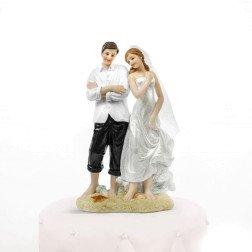 centro torta matrimonio tema mare sposi in spiaggia