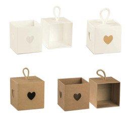 scatoline porta confetti bianche marroni con cordino shabby chic